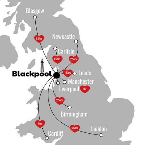 Car travel times to Blackpool from popular locations