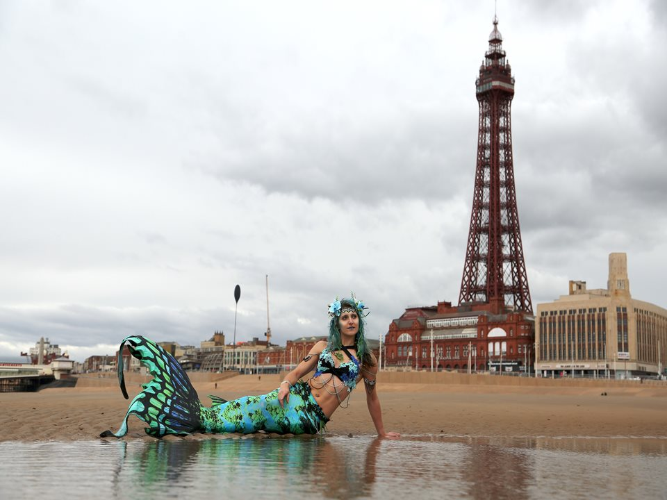 Mermaid Makes a Real Splash on Blackpool Beach!