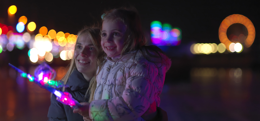 Family at Blackpool Illuminations