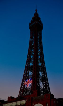 Blackpool Tower Heart illuminated in the union flag